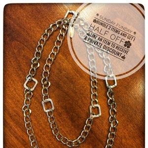 """Gold and Silver chain necklace, long 42"""""""